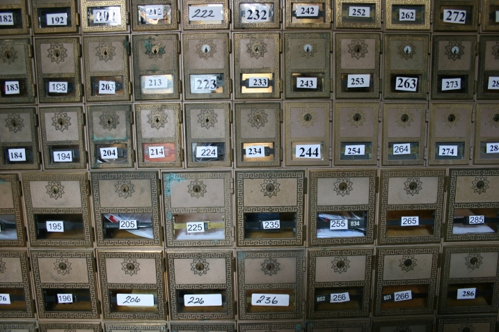Garden City post office, boxes