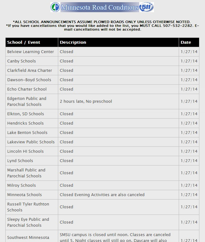 A screen shot of MarshallRadio.net's weather-related closings list this morning. This shows only a portion of the closings listed for that area of southwestern Minnesota.