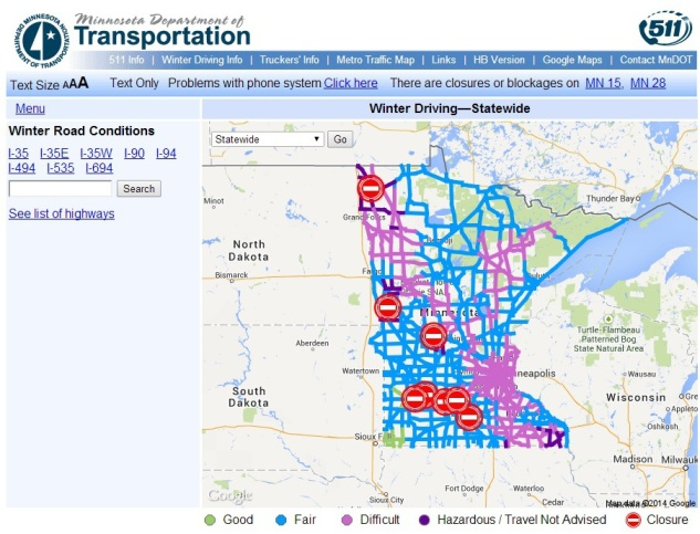 A screen shot of the Minnesota Department of Transportation 511 website shows road closures and conditions in Minnesota at 8:45 a.m. today.