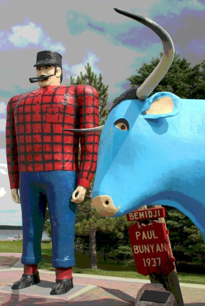 Legendary Paul Bunyan and Babe the Blue Ox in Bemidji, Minnesota. Minnesota Prairie Roots edited file photo.