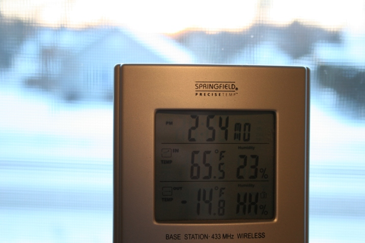 The temperature monitor in my home registered the outdoor air temp at minus 14.8 degrees Fahrenheit at 7:45 a.m. Yes, I know the time is wrong.