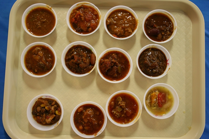 The first 12 of 30 chilies sampled.