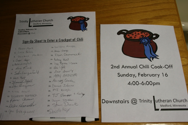 A list of those who made chili.