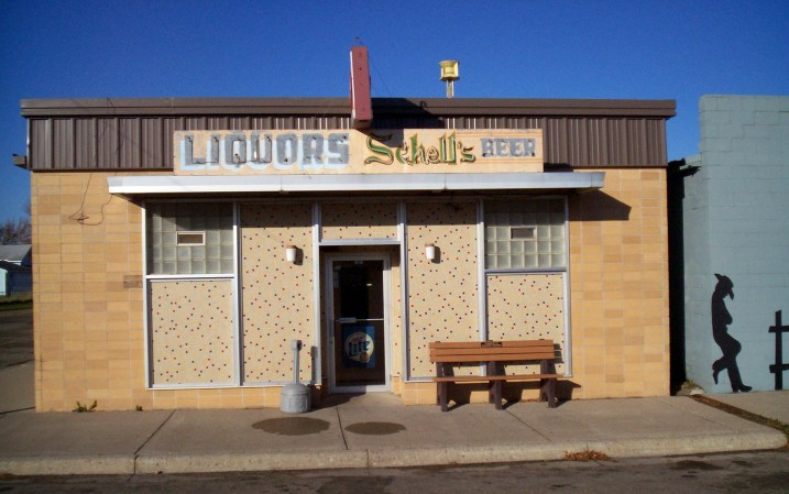 In my hometown on the southwestern Minnesota prairie, the Vesta Municipal Liquor Store. I've always loved the exterior look of this building.