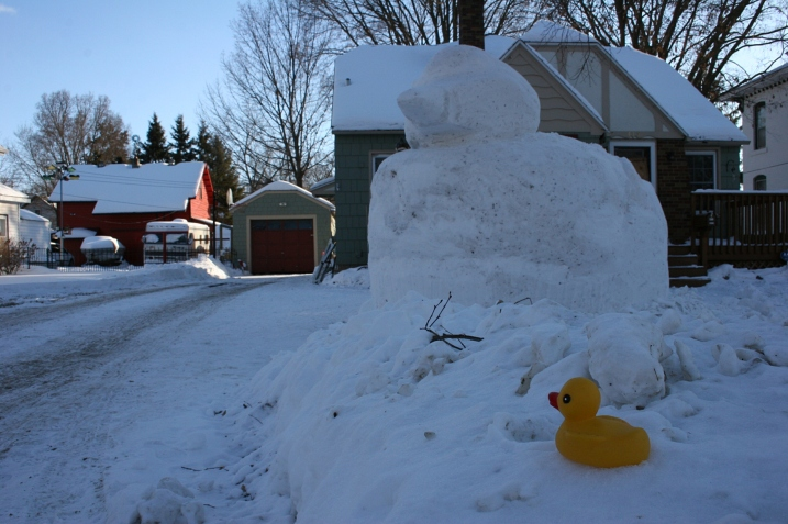 I nearly missed the rubber ducky atop the snow at the end of the driveway as I hurried toward the car.