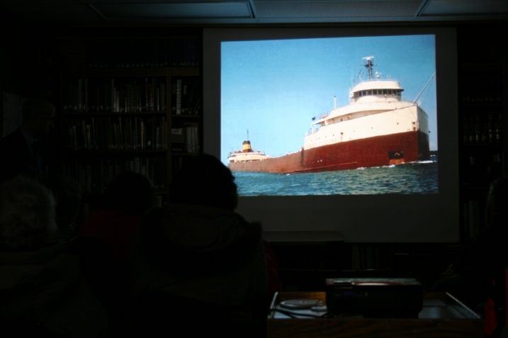 The Edmund Fitzgerald stretched more than two football fields long. This photo is among many shown in a presentation by diver Jim Christian.