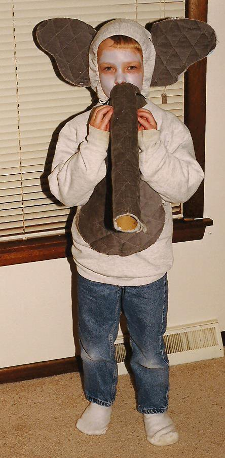 At age five, the son dressed as an elephant for Halloween. Today he attends Tufts University. The university mascot is Jumbo the elephant.