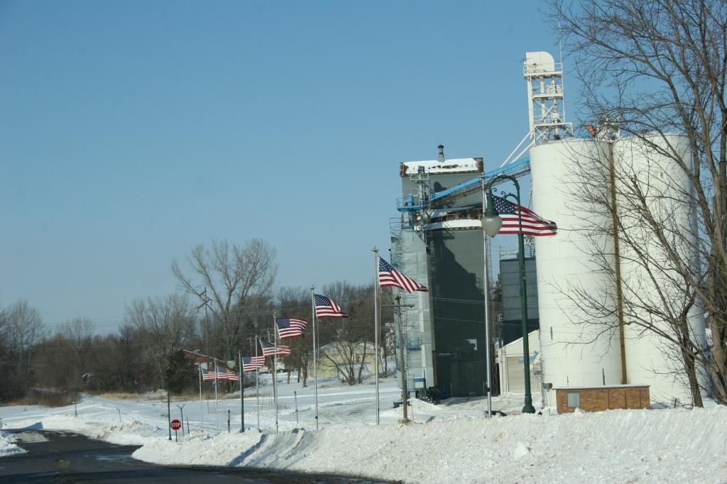 American pride along First Street, Montgomery, Minnesota.