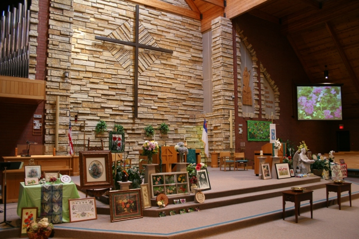 An overview of flower art from members of Trinity Lutheran Church, Faribault, Minnesota, displayed in the chancel during weekend worship services.