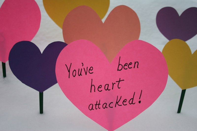 "Some creative mind (not mine) came up with the ""You've been heart attacked"" idea."