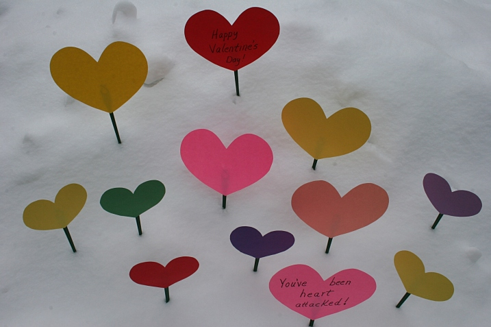 Image three times-plus this number of hearts placed in our friends' yards.