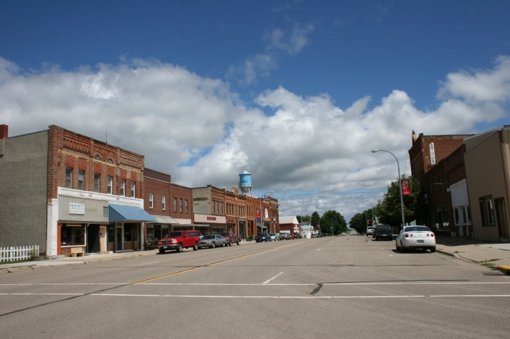 Looking down Maine Street in Amboy, Minnesota.