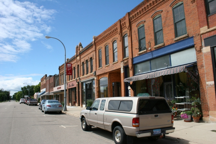 Amboy's Maine Street features mostly well-kept old brick buildings.