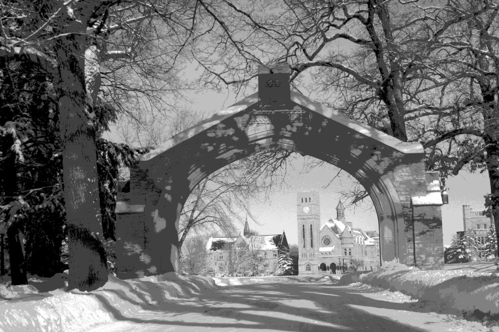 An arch frames Shattuck-St. Mary's School in Faribault, Minnesota.