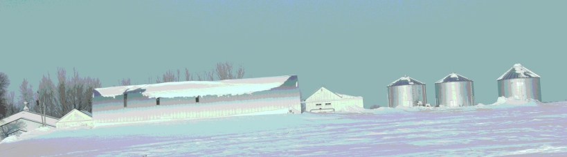 A farm site near Montgomery lost in a sea of snow.