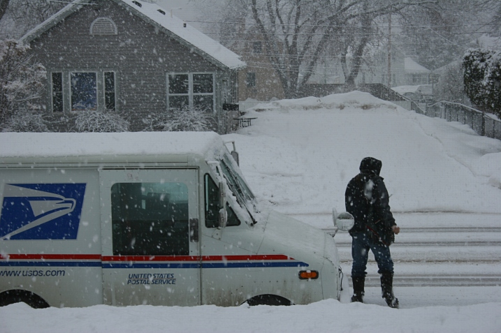 Neither rain nor snow...later than usual mail delivery in my neighborhood.