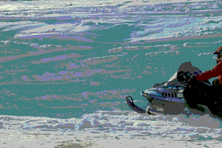 Snowmobile photo, edited
