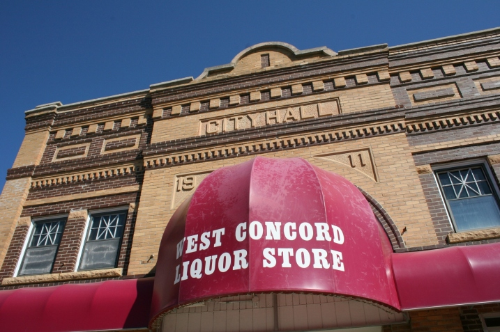 The West Concord Liquor Store, housed in a beautiful old building, once city hall. Minnesota Prairie Roots file photo.