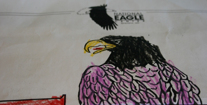 Art, colored eagle