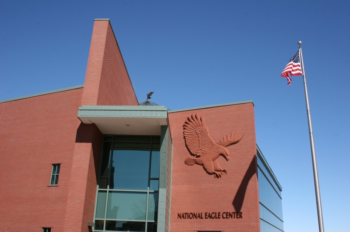 An eagle sculpture defines the exterior of the National Eagle Center in Wabasha.