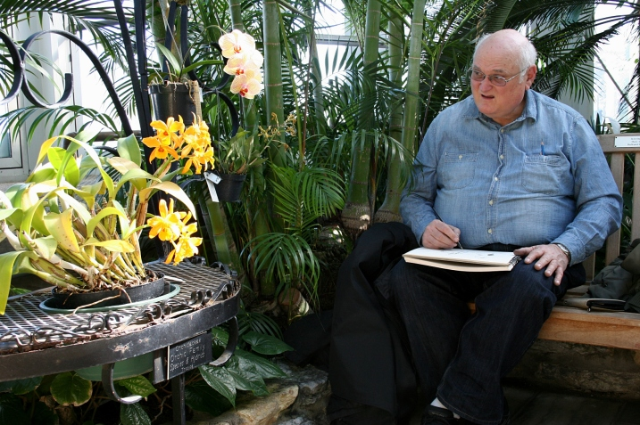 Thomas Winterstein of St. Paul sketches a scene in the Palm Dome.