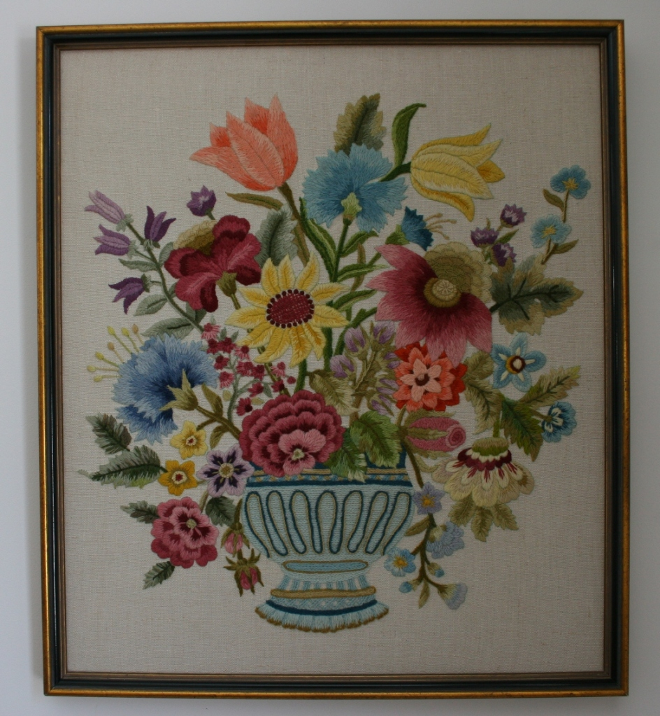 Crewel embroidery floral art, front