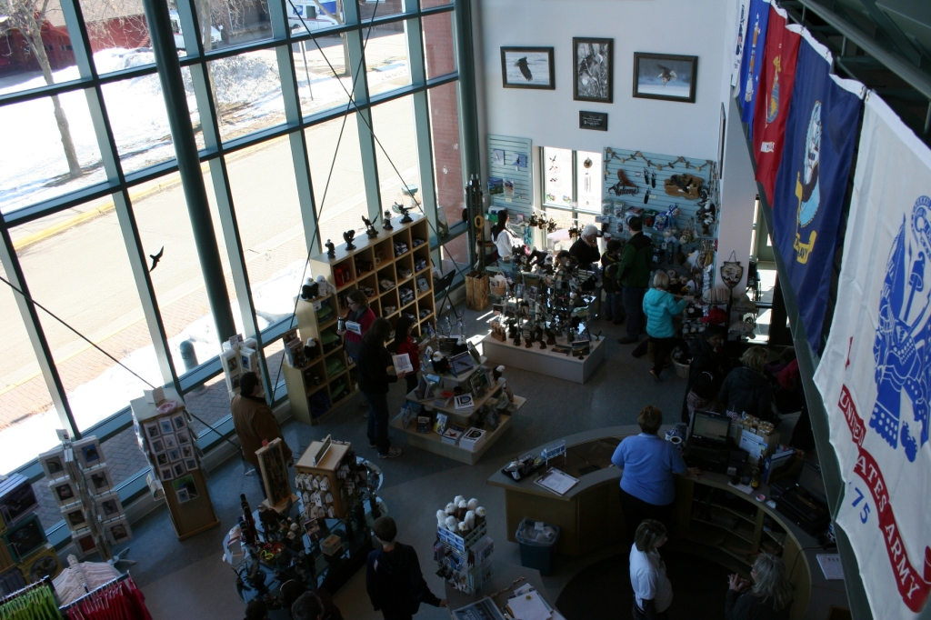 In the first floor gift shop, shown here...