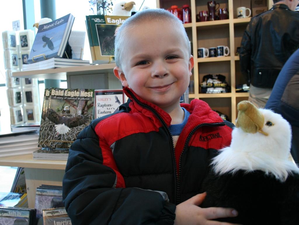 ...Joseph found a plush toy eagle.