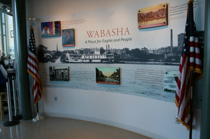A mural provides information about Wabasha and its open water draw for eagles.