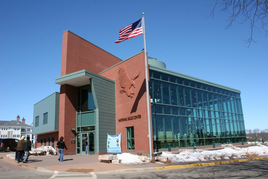 The stunning National Eagle Center, along the river and a block off the main downtown business district.