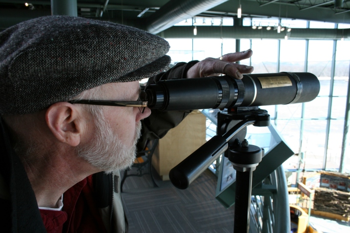 You'll find binoculars throughout the eagle center.