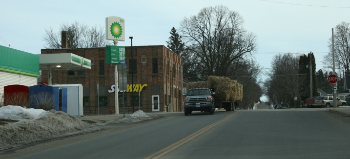 A scene in downtown Kenyon Sunday afternoon emphasizes this town's ag base.