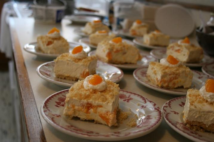 Mandarin orange dessert awaits diners.