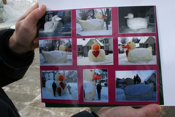 This photo montage by Klett shows the process of creating the duck sculpture.