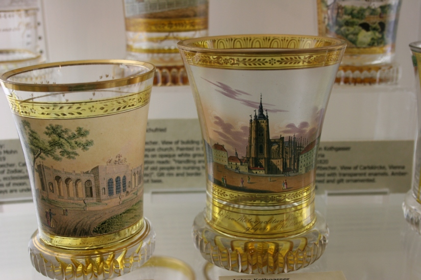 History and art detailed on glasses.