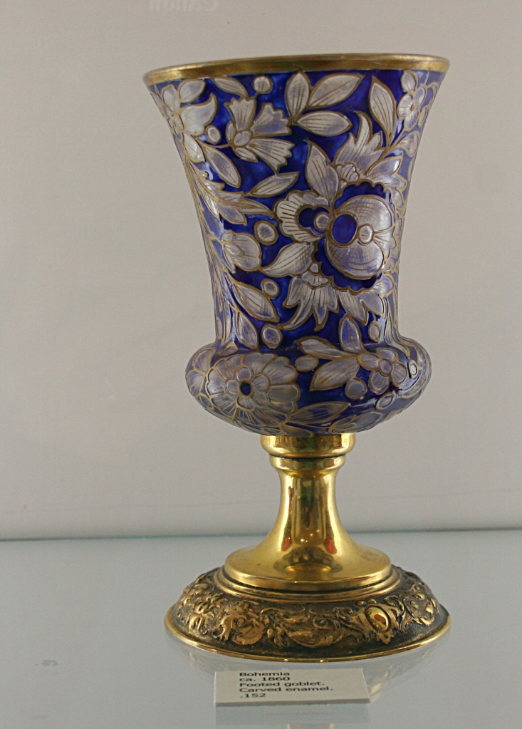 A carved enamel goblet, ca. 1860, Bohemia.