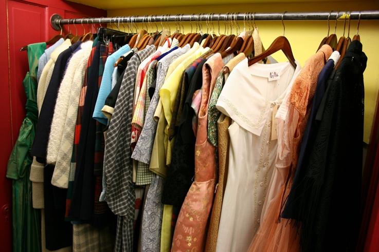 A vintage 1950s wardrobe in Audrey's Closet.