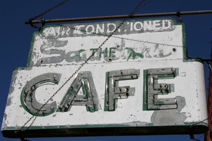 Wabasha, cafe sign up close