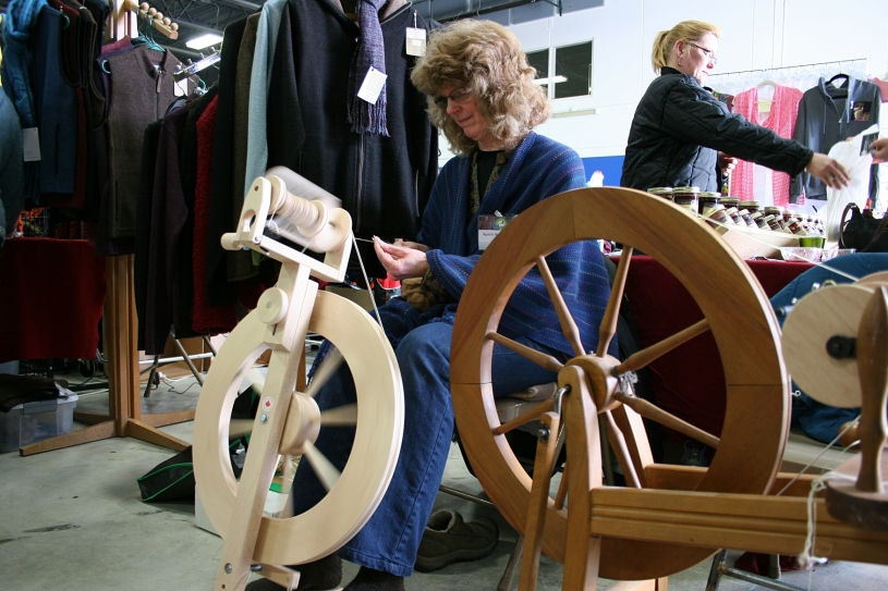 This woman spins fiber into yarn. I also observed two women grading alpaca fiber.