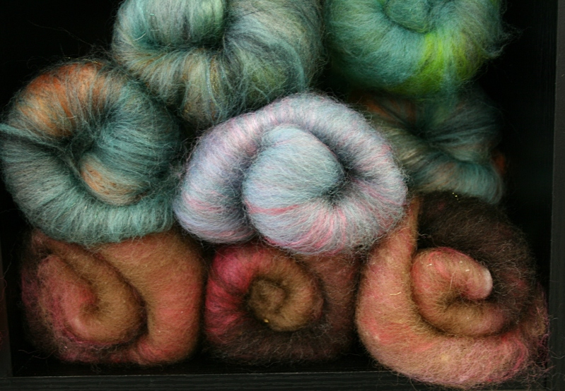 A sample of the offerings from Gone Batty Fibers based in Eagan.