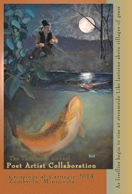 "A promotional for the collaboration features ""Li Bai at the South Fork,"" art by Mike Schad inspired by a poem of the same name written by Justin Watkins for the 2013 Poet-Artist XII collaboration."