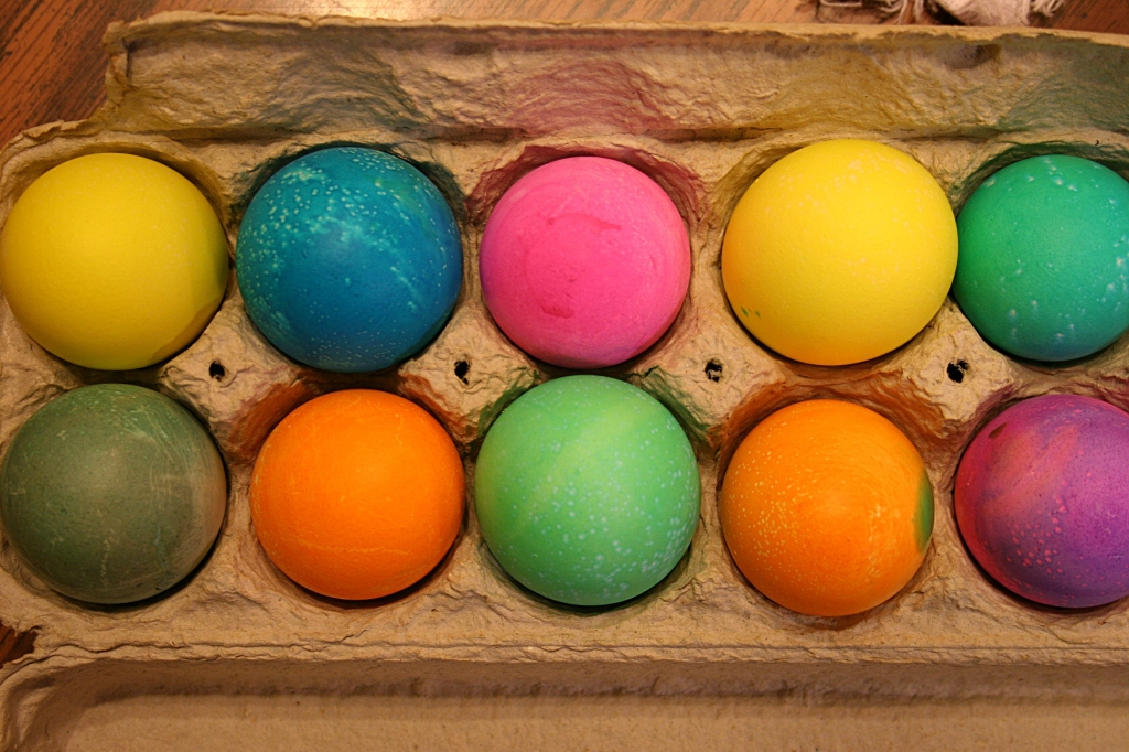 Ten of the eleven eggs dyed.