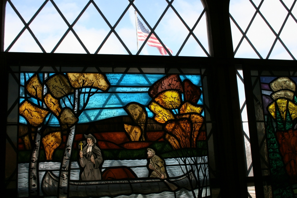 Don't miss the incredible stained glass windows in the Siekman Room.