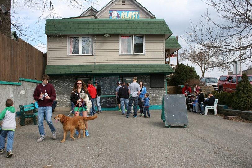 Long lines formed to the two serving windows at Blast Softserve, 206 West Rose St., Owatonna.
