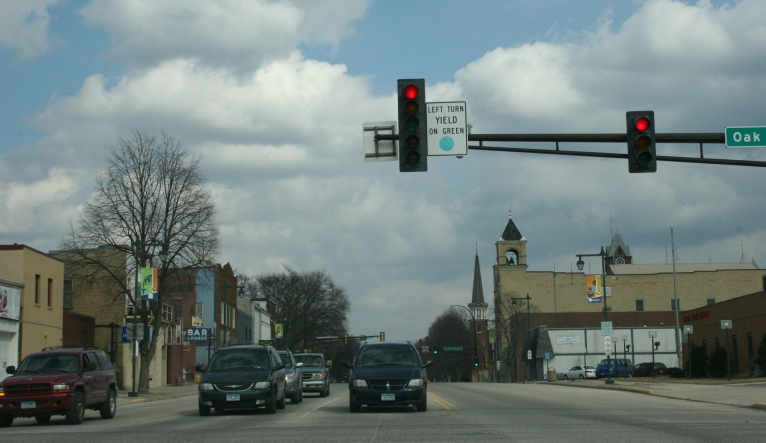 Owatonna stoplight sign