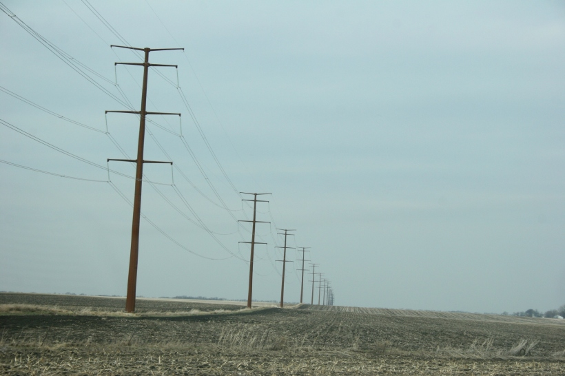 Newly-erected power lines, part of the Cap X2020 transmission line project, northwest of Morgan along Minnesota State Highway 67.