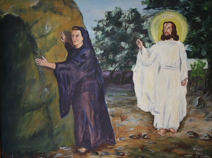 """The Risen Lord,"" painted in by my artist friend, Rhody Yule of Faribault, who dies in June 2011 at the age of 92."