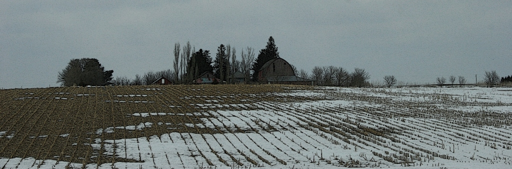 Rural Minnesota, farm behind hill