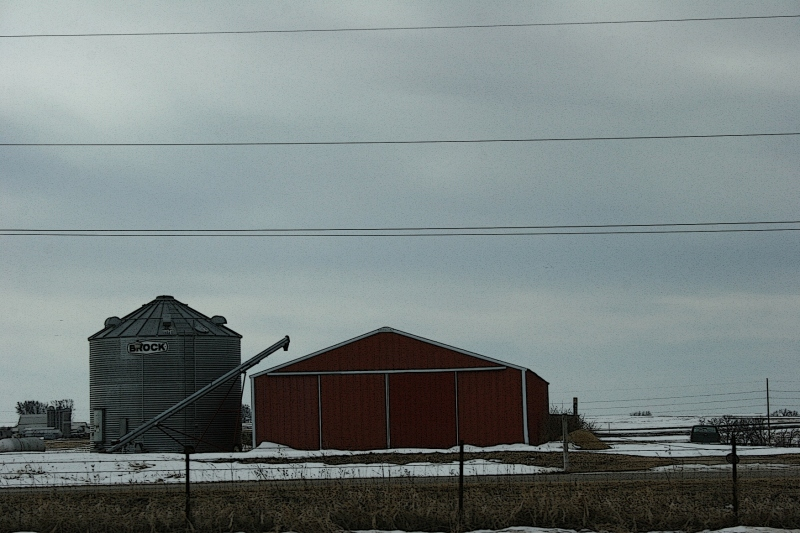 Rural Minnesota, machine shed and bin