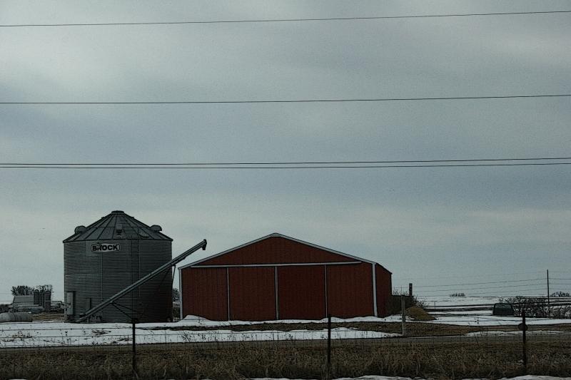 Rural Minnesota, machine shed and bin